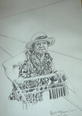 Abstract Expressionism Drawing - Chaya At The Supermarket by Esther Newman-Cohen