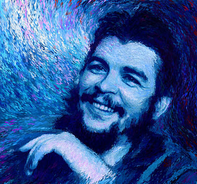 Cuban Missile Crisis Digital Art - Che Guevara Blue by Shubnum Gill