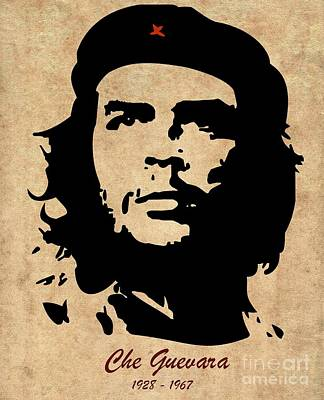 Peace Drawing - Che Guevara With Dates by T Lang