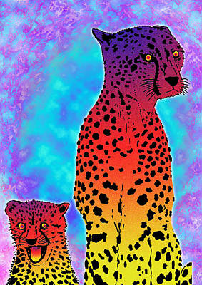 Lying In Wait Digital Art - Cheater Cheetahs by Charles Frederickson