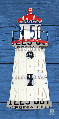 Lighthouse Wall Art - Mixed Media - Cheboygan Crib Lighthouse Michigan Vintage License Plate Art On Wood by Design Turnpike