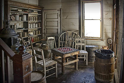 Photograph - Checker Game Setting In A Back Room No. 3105 by Randall Nyhof