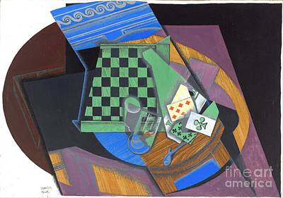 Painting - Checkerboard And Playing Cards by Roberto Prusso