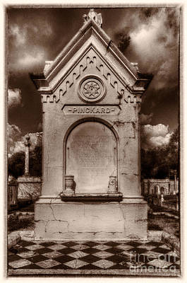New Orleans Cemeteries Digital Art - Checkerboard Masonic Tomb Nola by Kathleen K Parker