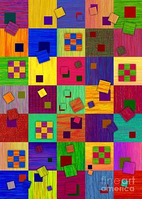 Abstract Montage Digital Art - Checkered by David K Small