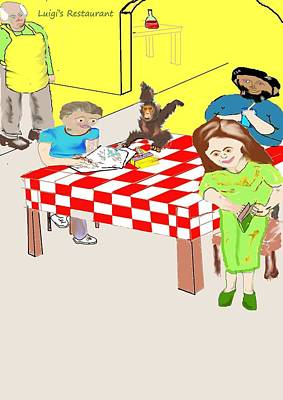 Wall Art - Drawing - Checkered Table Cloth And Monkey by Mike Friedman