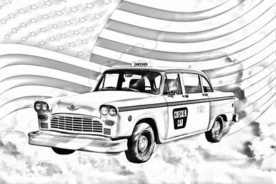 Checker Cab Photograph - Checkered Taxi Cab And American Flag by Keith Webber Jr