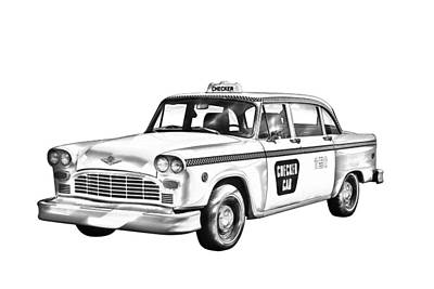 Photograph - Checkered Taxi Cab Illustrastion by Keith Webber Jr