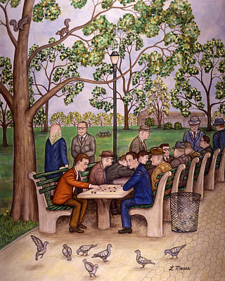 Board Game Painting - Checkers In The Park by Linda Mears