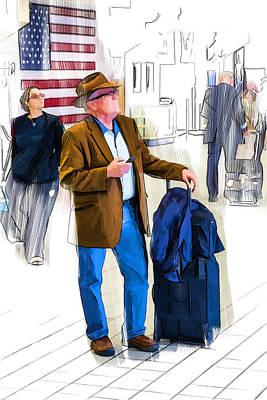 Drawing - Checking Departures At Dfw by John Haldane