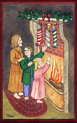 Seasonal Painting - Checking Our Stockings by Linda Mears