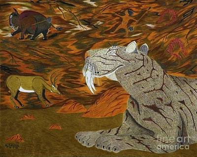 Animals Drawings - Checking The Air In The Nomads Lair by Gerald Strine