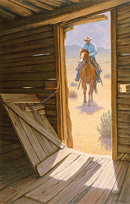 Cowboys Painting - Checking The Line Cabin by Paul Krapf