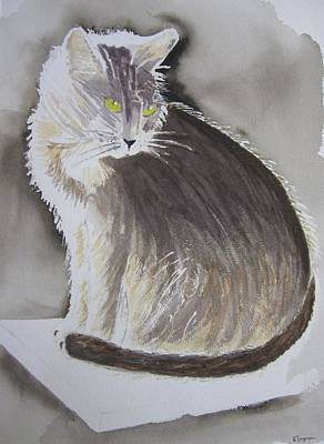 Cheeky Cat  Art Print by Elvira Ingram