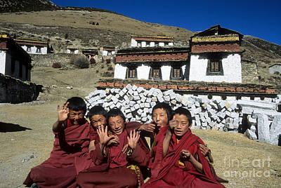 Cheeky Young Tibetan Monks Art Print