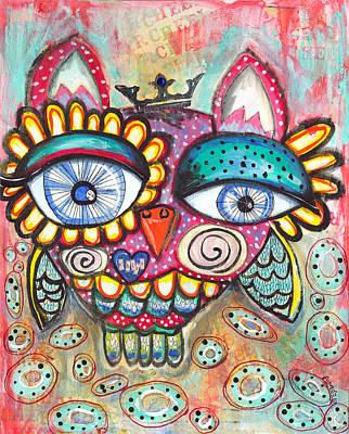 Cheers Mixed Media - Cheer Owl by Aimee Wheaton
