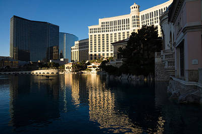 Photograph - Cheerful Early Morning Bellagio Reflections - Las Vegas Nevada by Georgia Mizuleva