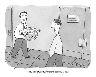 September 19th Drawing - Cheerful Office Worker Holding A Basket Of Papers by Peter C. Vey