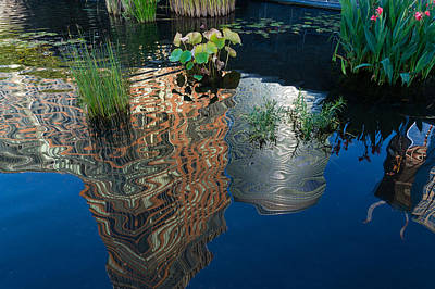 Photograph - Cheerful Reflections - Beautiful Water Garden Reflecting Manhattan Skyscrapers by Georgia Mizuleva