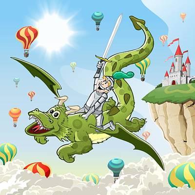 Knights Castle Digital Art - Cheering Knight On Flying Dragon by David Spier