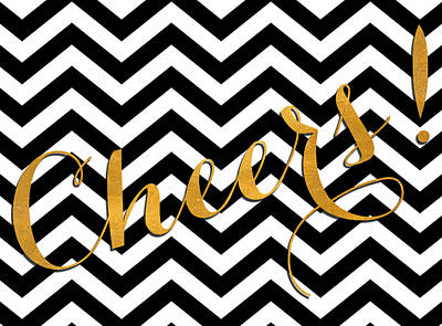 Cheer Digital Art - Cheers Chevron by South Social Studio