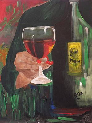 Glass Of Wine Painting - Cheers by Reba Baptist