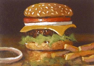 French Fries Painting - Cheeseburger With Fries by William McLane