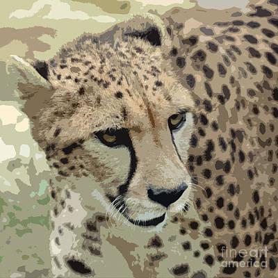 Digital Art - Cheetah 3 Quarters Macro Profile Cutout Digital Art Square Format by Shawn O'Brien