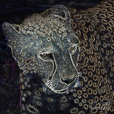 Digital Art - Cheetah 3 Quarters Macro Profile Glowing Edges Digital Art Square Format by Shawn O'Brien