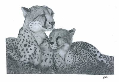 Cheetah Drawing - Cheetah And Cub by Rich Colvin