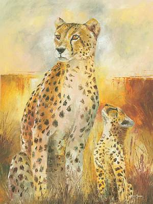 Painting - Cheetah And The Cub by Christiaan Bekker