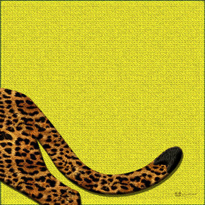 Digital Art - Cheetah Furry Bottom On Yellow by Serge Averbukh