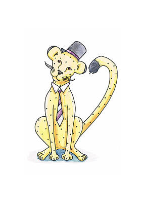 Cheetah Drawing - Cheetah In A Top Hat by Christy Beckwith