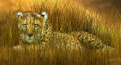 Mixed Media - Cheetah - In The Wild Grass by Carol Cavalaris