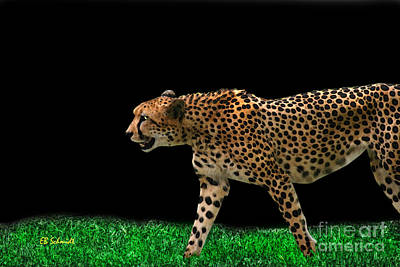 Digital Art - Cheetah On The Prowl by E B Schmidt
