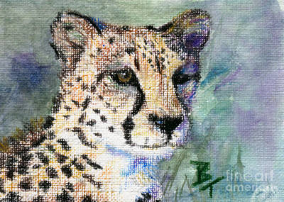 Painting - Cheetah Portrait Aceo by Brenda Thour