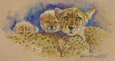 Cheetah Drawing - Cheetah With Cubs by Donna Grasso