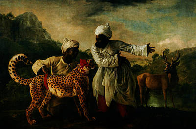 Indians Painting - Cheetah With Two Indian Servants And A Deer by Celestial Images