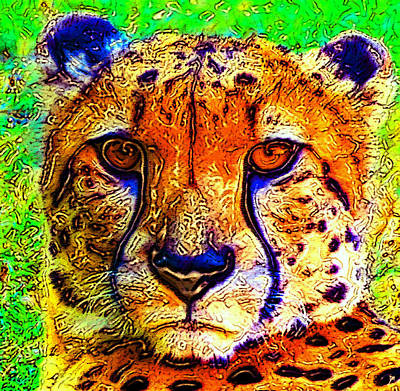 Cheetah Digital Art - Face Of The Cheetah by David Lee Thompson