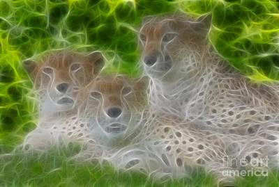 Cheetah Digital Art - Cheetahs-6325-fractal by Gary Gingrich Galleries