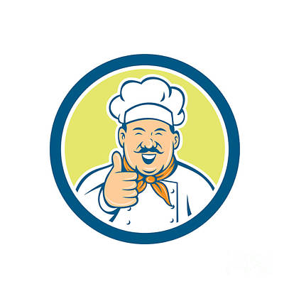 Chef Cook Happy Thumbs Up Circle Retro Art Print by Aloysius Patrimonio