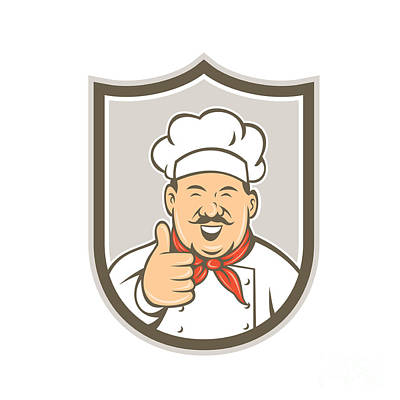 Chef Cook Happy Thumbs Up Shield Retro Art Print by Aloysius Patrimonio