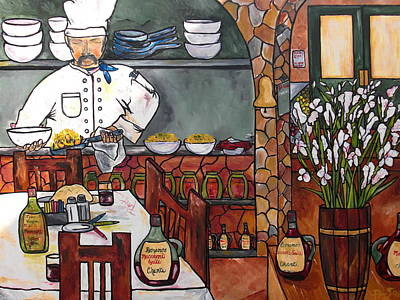Italian Kitchen Painting - Chef On Line by Patti Schermerhorn