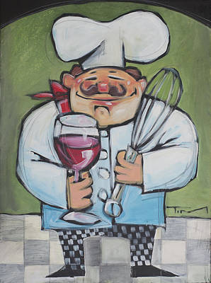 Painting - Chef With Wine And Whisk by Tim Nyberg