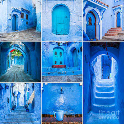 Moroccan Photograph - Chefchaouen Collage by Sabino Parente