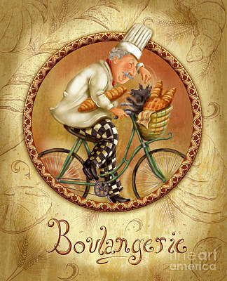 Bicycle Mixed Media - Chefs On Bikes-boulangerie by Shari Warren