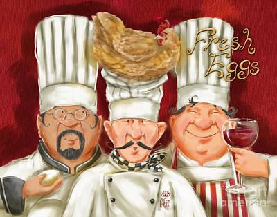 Vino Mixed Media - Chefs With Fresh Eggs by Shari Warren