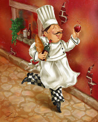 Chefs With Wine I Art Print