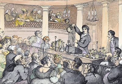 Harvard Drawing - Chemical Lectures by Thomas Rowlandson