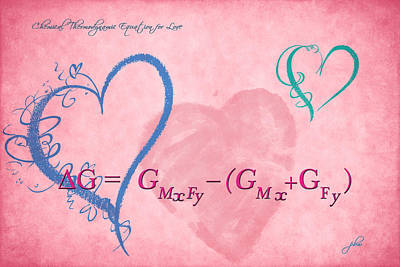 Digital Art - Chemical Thermodynamic Equation For Love 2 by Paulette B Wright